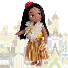 """It's A Small World Doll Collection (Aloha) -  """"This lovely Hawaiian girl in finely detailed traditional folk costume also sings in her native language! Listen to her sing ''it's a small world'' in both Hawaiian and English. ALOHA!"""""""