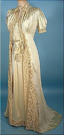 1930s Satin and Lace Wedding Trousseaux Set