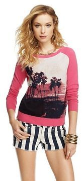 Juicy Couture Sunset Palms Jacquard Pullover