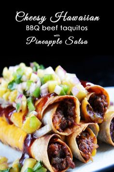 Cheesy Hawaiian BBQ Beef Taquitos and Pineapple Salsa | http://www.carlsbadcravings.com/cheesy-hawaiian-bbq-beef-taquitos-pineapple-salsa/