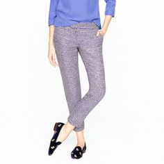 Jcrew Navy Tweed Cafe Capri Gently used Jcrew navy tweed cafe Capri. Very well made and unique. Love the weaving and hint of sparkle sewn in! J. Crew Pants