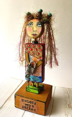 Mixed Media Art Doll Wooden Block Doll Altered by EarthyByDesign Wood Craft Patterns, Christmas Signs Wood, Recycled Art, Repurposed, Assemblage Art, Polymer Clay Art, Mixed Media Art, Mix Media, Community Art