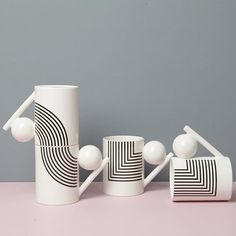 ⚪️➖⚫️ geometric mugs with pattern #geometry #geometricdesign #ceramics…