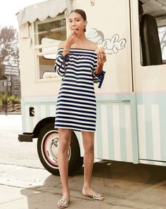 The 30-second J.Crew women's outfit. An off-the-shoulder shift dress plus leopard slides. Piece of (cup)cake.