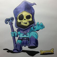 Here's a colour version of skeletor! This was fun! Still trying to work out this copic bleedproof paper. Copic Drawings, Copic Sketch, Cartoon Head, Drawing Practice, Copic Markers, Halloween Art, Skeletons, Drawing Reference, Skulls