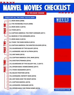 The Best Way to Watch Marvel Movies in Order and a Free Printable Checklist Mcu Movies In Order, Avengers Movies In Order, Marvel Movies List, Netflix Movie List, Movie To Watch List, Marvel Avengers Movies, Good Movies To Watch, Dc Movies, Marvel Films