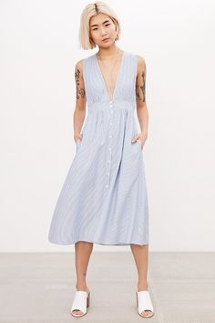 Kimchi Blue Plunging Button-Down Midi Dress