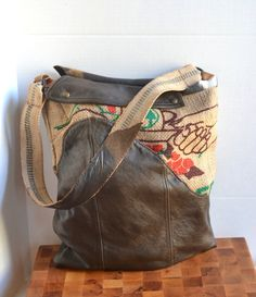 Burlap and Leather Tote Bag  Coffee Burlap Tote  by Liquidshiva, $70.00