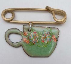 Cup of tea green enamel brooch