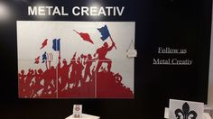 Acest tip de perete decorativ poate fi utilizat pentru proiecte rezidentiale si comerciale: hoteluri, lobby birouri, restaurante, spatii pentru expozitii/ targuri s.a. Decorative wall of steel sheet, sewn manually with an image showing a scene of the French Revolution. Using the innovative sewing technique on perforated steel sheet, one can copy almost any image / drawing or logo. #metalcreativ #decorative #wall #steel #office #decor #interiordesign