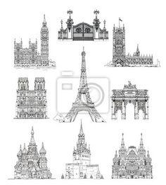 Słynne budynki w londynie, paryżu i moskwie, szkic kolekcji na obrazach myloview. Najlepszej jakości plakaty, fototapety, kolekcje myloview, naklejki, obrazy. Chcesz ozdobić swój dom? Tylko z myloview!