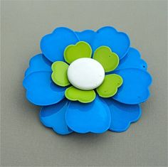 LARGE Vintage Enamel Flower Brooch 1960s 1970s Groovy DAISY Brooch Hippie Chic Flower Power Blue LIme White by malibloom, $20.00
