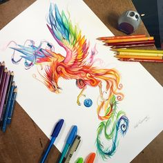 Regal Phoenix - A fun larger drawing for today! I love the beauty and meaning of a phoenix. Made by @katy_lipscomb