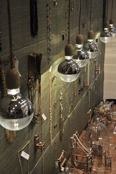 great idea for jewelry display  love those light fixtures