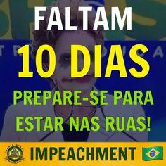 Estejamos preparados para invadir as ruas no dia da votação do impeachment na Câmara dos Deputado! #ForaDilma #ImpeachmentJá O BRASIL VENCERÁ! FAÇA A SUA PARTE! #Compartilhe Curta Movimento Contra Corrupção