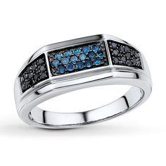 Blue/Black Diamonds Men's Ring 3/8 ct tw Sterling Silver (For J)
