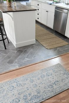 Peel And Stick Floor Tile in the Kitchen: A Gorgeous Budget Friendly DIY! Peel And Stick Floor Tile in the Kitchen: A Gorgeous Budget Friendly DIY! Diy Kitchen Flooring, Farmhouse Flooring, Living Room Flooring, Kitchen Redo, Kitchen With Tile Floor, Cheap Kitchen Floor, Kitchen Ideas, Living Room To Kitchen Floor Transition, Kitchen Vinyl