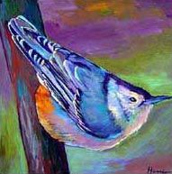 Nuthatch. White breasted nuthatch painting on canvas.