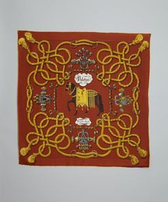 Hermes golden brown silk 'Palefroi' vintage scarf