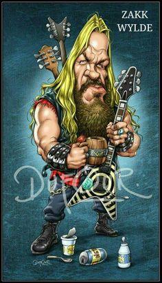 Zakk Wylde Heavy Metal Art, Heavy Metal Bands, 80s Hair Metal, Biker Tattoos, Black Label Society, Zakk Wylde, Celebrity Caricatures, Rock Posters, Movie Posters