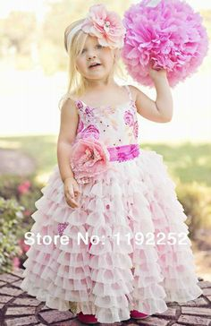 2014 summer girls custom made pleated chiffon one-piece cute dress with fake flower for birthday party/wedding/children party $44.00