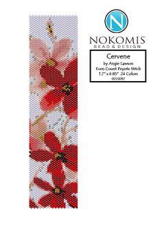 This item is unavailable - Nokomis Bead & Design Jewelry - This item is unavailable Red flower peyote pattern Loom Bracelet Patterns, Peyote Stitch Patterns, Bead Loom Bracelets, Bead Loom Patterns, Beaded Jewelry Patterns, Beading Patterns, Peyote Stitch Tutorial, Bead Loom Designs, Loom Bracelets