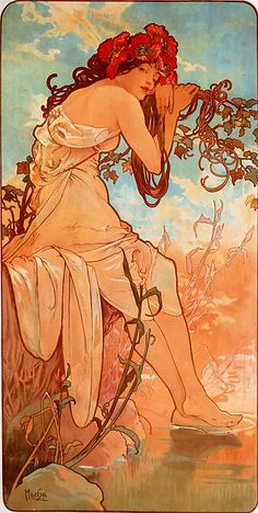 Summer Czech Art Nouveau distinct Alphonse Mucha art for sale at Toperfect gallery. Buy the Summer Czech Art Nouveau distinct Alphonse Mucha oil painting in Factory Price. All Paintings are Satisfaction Guaranteed Mucha Art Nouveau, Alphonse Mucha Art, Art Nouveau Poster, Poster Art, Kunst Poster, Mucha Artist, Print Poster, Art And Illustration, Inspiration Art