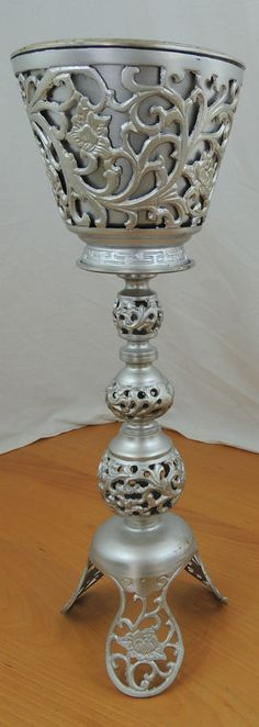 """Vintage Silver Painted Brass Floral Filigree 21"""" Tall Plant Stand"""