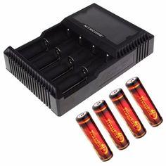 ส่งทั่วไทยNitecore ที่ชาร์จถ่าน 4 ก้อน รุ่น D4 + Trustfire 18650 ถ่านชาร์ต3.7V 3000 mAh มีวงจรป้องกัน ( 4 ก้อน )+คุณภาพดีๆ