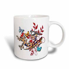 3dRose Butterflies and floral accents designer digital art beauty, Ceramic Mug, 11-ounce