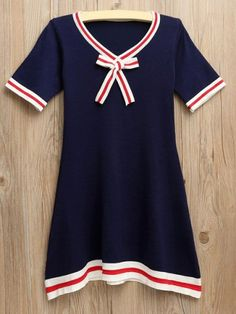 cute sailor dress| $13.07  gyaru kawaii harajuku vintage retro fachin seifuku dress top bow striped under20 under30 rosegal free shipping