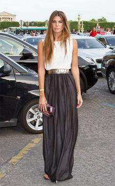 I am always looking for alternatives to dresses...a white sleeveless silk top and a long black silk skirt held together by a gold belt with a gold clutch is as good as any red carpet dress in my book!