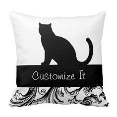 black cat with Baroque trim Pillow