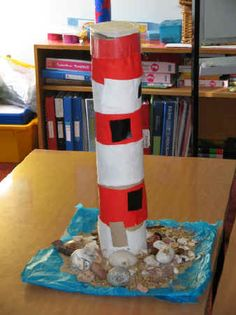 lights for a model lighthouse | We used a large cylinder for the lighthouse and different materials ...