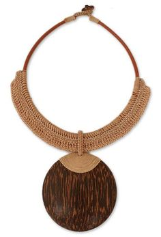 Leather and Coconut Wood Pendant Necklace - Tan Tribal Glam | NOVICA