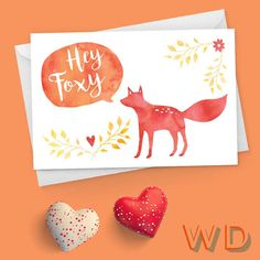 Hey Foxy Fox Valentine Watercolor Greeting Card / Hearts, love, flowers