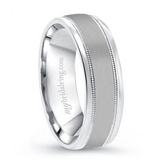 Elegant mens wedding bands white gold comfort fit - http://www.mybridalring.com/Mens/14k-brush-finished-yellow-white-gold-wedding-band/