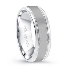 Elegant mens wedding bands white gold comfort fit - http://www.mybridalring.com/Mens/14k-brush-finished-yellow-white-gold-wedding-band/