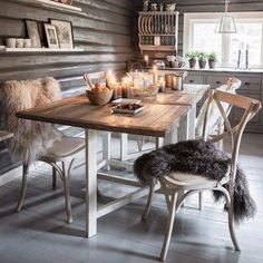 Grays and natural wood and love the fur.