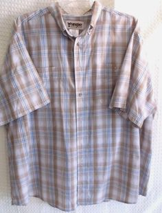 Wrangler Rugged Wear Short Sleeve Button Down 3X Blue/Begie/White Plaid #Wrangler #ButtonFront