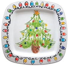 Christmas tree hands with thumbprint lights. Someone please hint to my hubby… Christmas Plates, Christmas Crafts For Kids, Baby Crafts, Homemade Christmas, Christmas Projects, Winter Christmas, Holiday Crafts, Christmas Holidays, Christmas Gifts