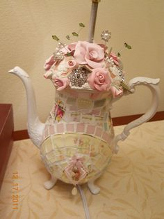 A Teapot Lamp is Born check out the transition from silver to mosaic! Pretty Cool! #HAF #HAFteam