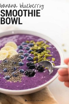 Banana Blueberry Smoothie Bowl | Taking a delicious berry smoothie to the next level. | A Sweet Pea Chef