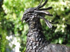 #Bronze #sculpture by #sculptor Rosie Sturgis titled: 'Secretary Bird (Bronze African Wild sculpture statue)'. #RosieSturgis