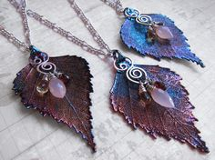Sylvan Leaves by Sihaya Designs -- Real Birch Leaf in Faery Twilight iridescent paint.   Gifts for bridesmaids.