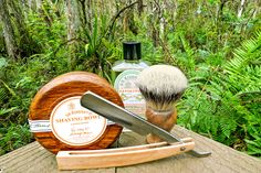 """D. R. Harris sandalwood shave soap and aftershave, Rudy Vey badger brush, Hart Steel 5/8"""" straight razor, cypress swamp, February 25 2015.  ©Sarimento1"""