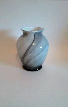 Black Marbleized Glass Vase by SamsOldiesButGoodies on Etsy
