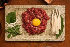 yukhoe - Korean steak tartar.