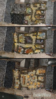 floorplan of a crooked house Tabletop Rpg, Tabletop Games, Pathfinder Maps, Pen And Paper Games, Village Map, Building Map, Rpg Map, Crooked House, Dungeon Maps