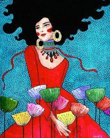 Por amor al arte: Hülya Özdemir Art And Illustration, Illustrations, Painting Inspiration, Art Inspo, Klimt, Mosaic Art, Portrait Art, Female Art, Folk Art